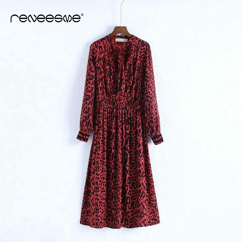 Femmes printemps noeud papillon imprimé léopard robe plissée motif Animal rouge taille élastique manches longues Chic Midi dames robes Vestidos - 3