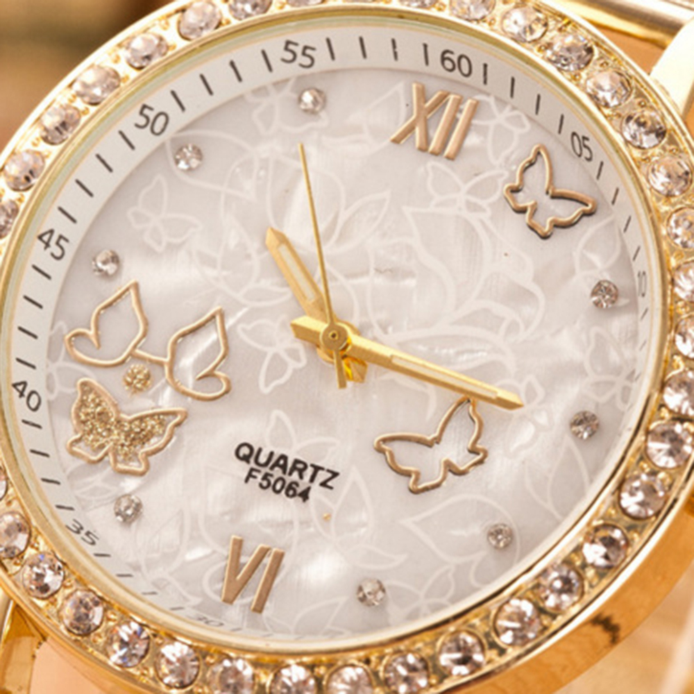 Good Quality Fashion Trend Women's Casual Quartz Watch Mesh Belt Butterfly Rhinestone Wrist Watch Women's Quartz Watch Hot