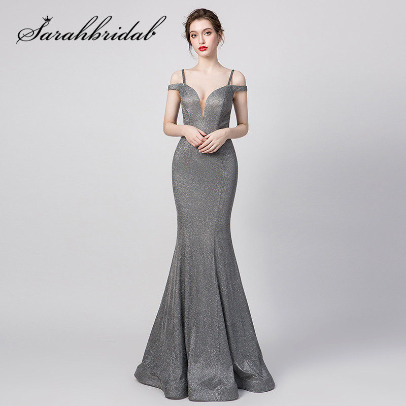 Sexy gris robes de soirée matériel spécial sirène sans manches col en v hors de l'épaule Spaghetti sangle robes de bal CC5261