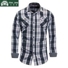 2018 New Fashion Plaid Shirt Men Long Sleeve Casual Work Shirts 100% C
