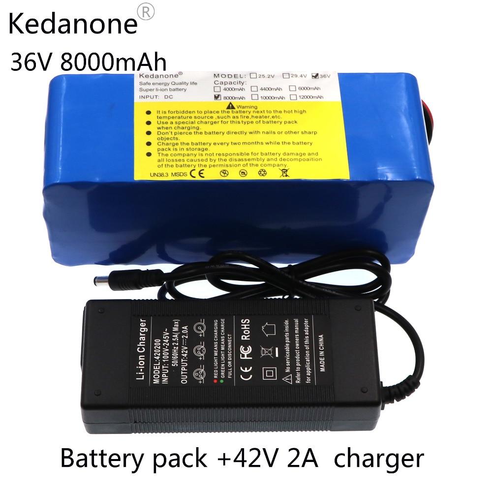 Batterie au lithium Kedanone 36 V 8ah 500 W 18650 batterie de vélo électrique 36 V 8AH avec étui en PVC pour chargeur de vélo électrique 42 V 2A