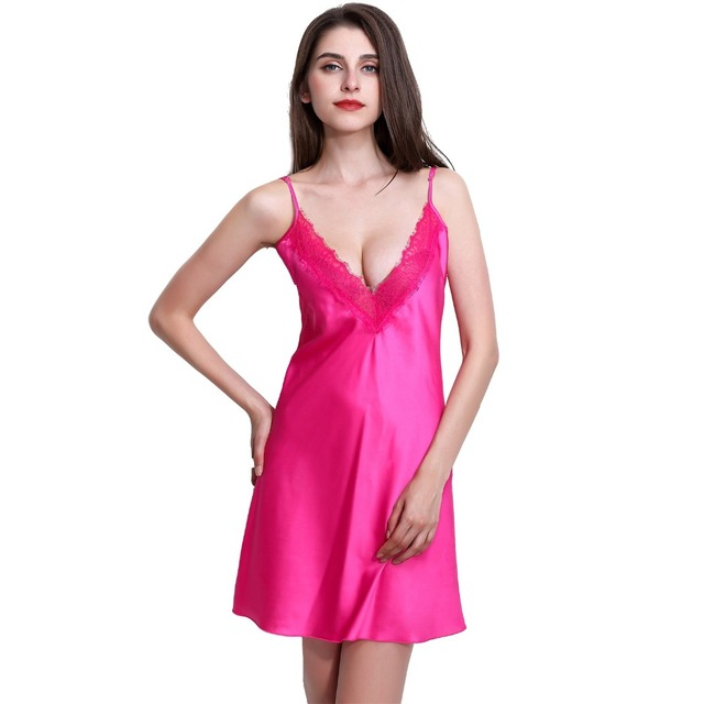 Solid Satin Chiffon Women Nightgown Lace Neck  Spaghetti Strap Sleepshirt Black / Light Grey / Rose / Royal Blue / White Nightie