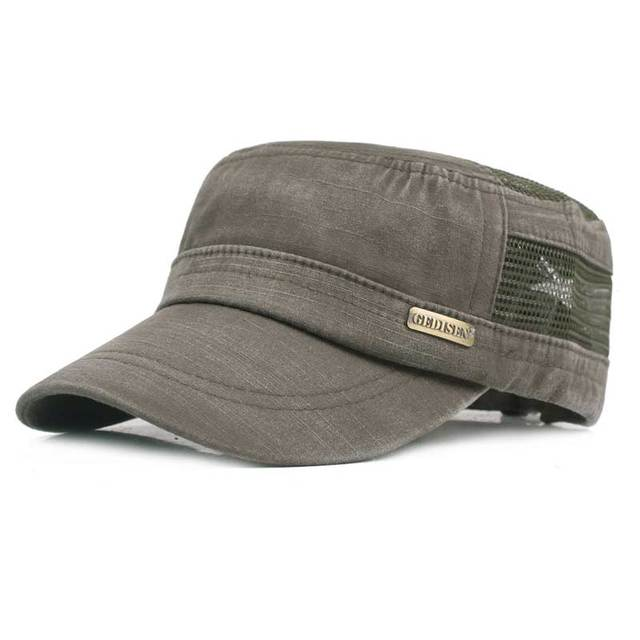 a66e681f Adult Unisex Chapeau Adjustable Cadet Style Cotton With Mesh Flat Top  Military Cap Army Hats Men
