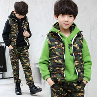 4 14 Years Baby Teenager Boy Winter Thick Camouflage 3 Piece Suit Hooded Jacket Sets Green Black Big Boys Thickening Warm Suit