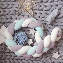 1.5M/2.0M Knot Bumper Newborn Baby Nodic Long Knotted Braid Pillow Bed Bumper in Crib Infant Room Decor Crib Bumpers 1m 1 5m 2m 3m length nodic knot newborn bumper long knotted braid pillow baby bed bumper in the crib infant room decor