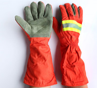 Free Shipping Hot Selling Long Sleeve Safety Fire Fighting Protecting Gloves High Temperature Insulated Anti Stream
