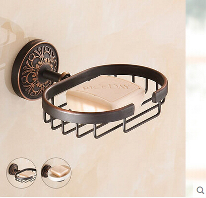 Free Shipping! Retro Style Oil Rubbed Bronze Soap Dishes Soap Holder Ceramic Dishes Bathroom Accessaries