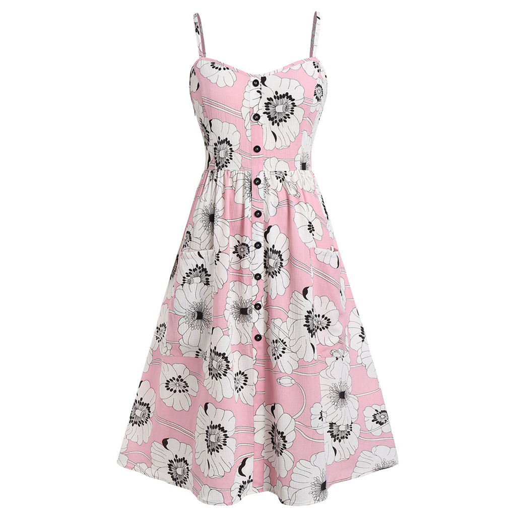 JAYCOSIN Dress Women Summer Fashion Sexy Sunflower Printing Slim Dress Pocket Button Off Shoulder Sleeveless Pink Mini Dress 508