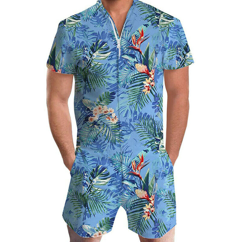 Mens Summer One Piece Jumpsuits Plage Beach Loose Rompers Playsuits Holiday Sea Side Short Sleeve Zipper Trousers 1PC Pants 2019