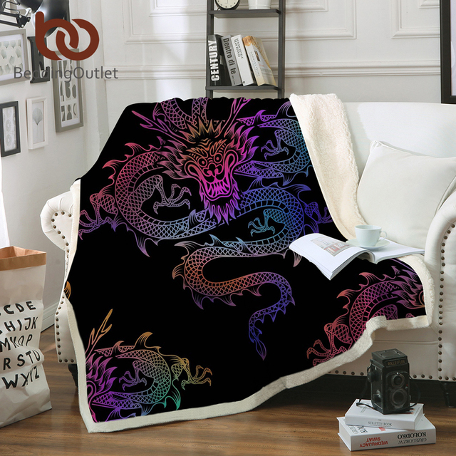 Beddingoutlet Dragon Sherpa Throw Blanket Colorful Printed Boys