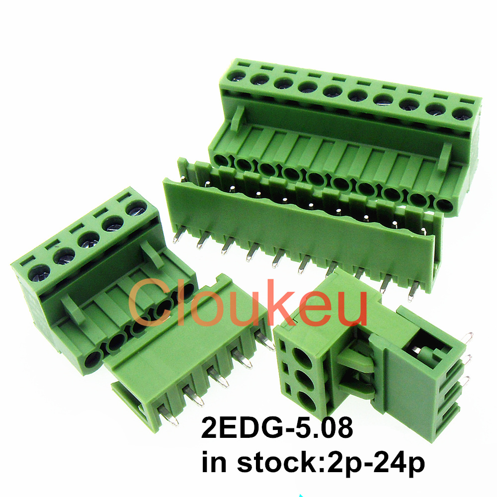2EDG-5.08 Green Wiring Terminal Connector PCB 5.08mm 2/3/4/5/6/7/8/9/10/11/12/13/14/15/16/18/20/22/24p image