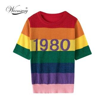 84e920231 Warmsway nueva moda Arco Iris rayas T camisa mujeres Camiseta de manga  corta de verano Tops camiseta Harajuku Top de lentejuelas Camisetas B-100