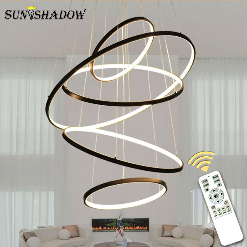 Candelabro Led moderno 6 anillos D100cm iluminación Led de araña montada en el techo para sala de estar Comedor Cocina negro y blanco y dorado