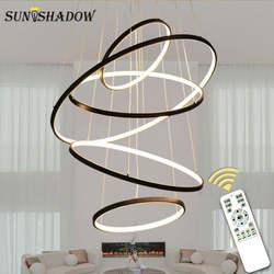 Современные светодиодный Люстра кольца круг потолочный светодиодный светильник люстра освещение для гостиной столовой Кухня черный и