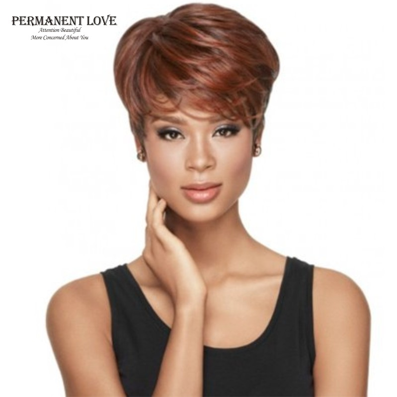 Female auburn wigs with side bangs short wigs for black women natural  synthetic hair wigs African American short peluca pixie 5c367e97e4