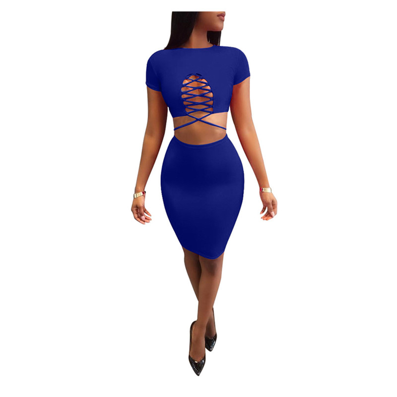 2019 Sexy Women Summer Dress Lace-up Two-Piece Dress Wine red Black Blue 3 Colors Hollow Short-Sleeved Wrinkle Dresses