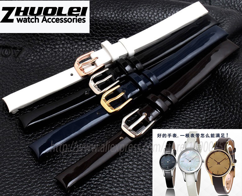 Watch Strap for CK watches band K4323216/K4323209/K43236 10mm black brown dark blue polished Genuine Leather Watch Bands Strap
