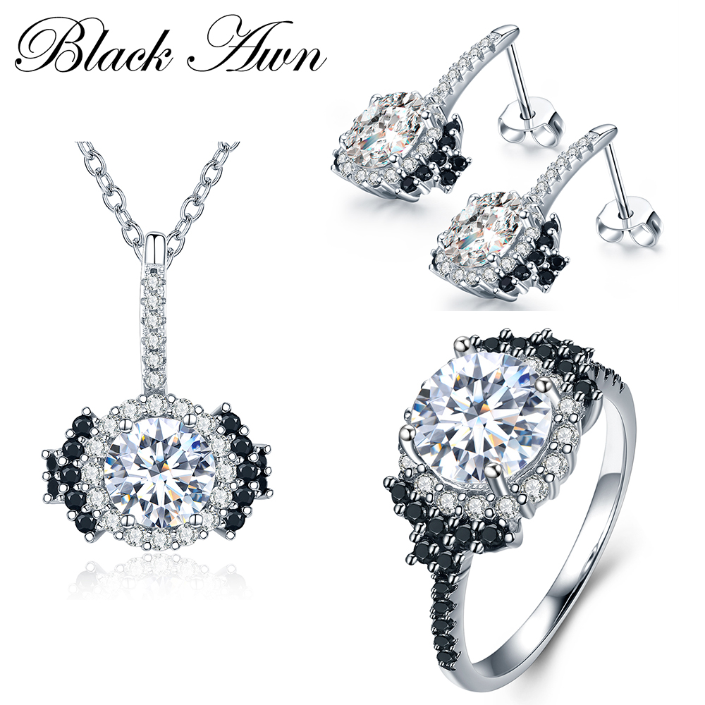 [BLACK AWN] 925 Sterling Silver Fine Jewelry Sets Trendy Engagement - Fine Jewelry