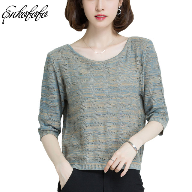 2018 Summer Women Basic Pullover Sweaters Casual Loose Knit Half