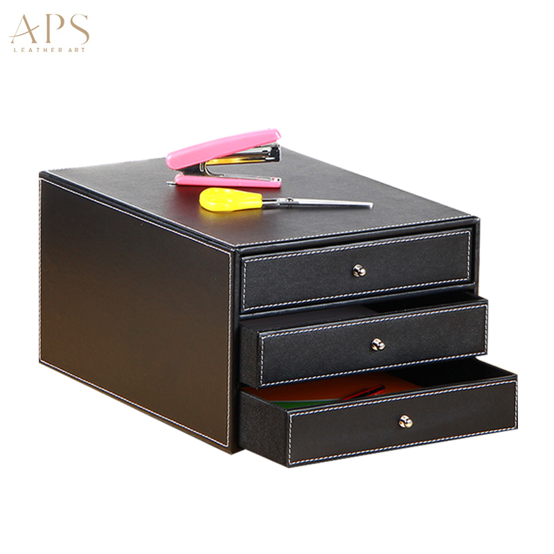 3 Layer PU Leather Office Desktop File Cabinet 3 Drawer
