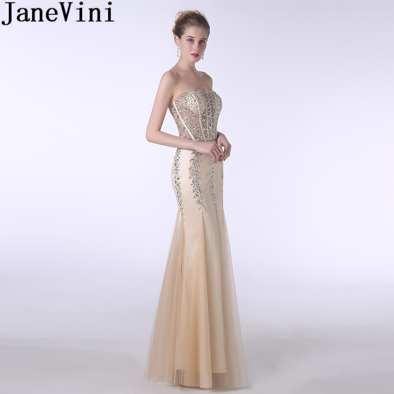 JaneVini Mermaid   Bridesmaid     Dresses   Champagne Long Sexy See Through Beaded Crystal Formal   Dress   Party Wedding Floor Length Gown