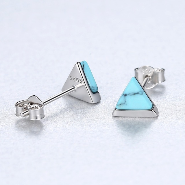 CZCITY Real Sterling Silver 925 Stud Earrings for Women Triangle Created Turquoise Petite Post Earring Female Dating Jewellery