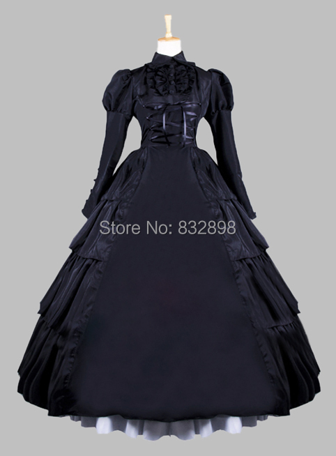 Gothic Black Victorian Era Ball Gown Stage Costume Prom Dress