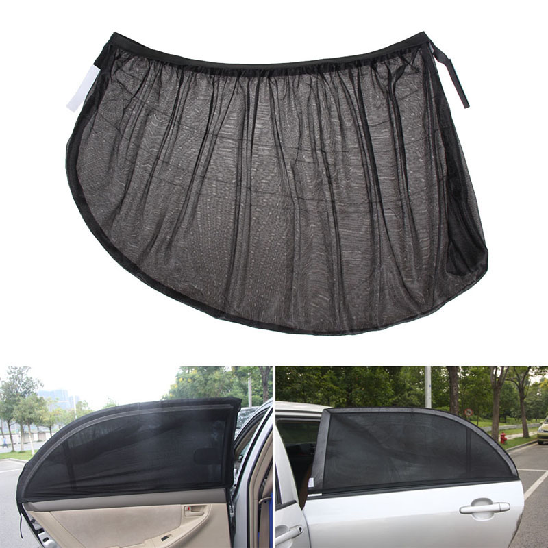 2Pcs Car Side Rear Windshield Window Glass Sun Shade Mesh Cover Solar UV Protection Visor Shield Sunshade Auto Accessories L