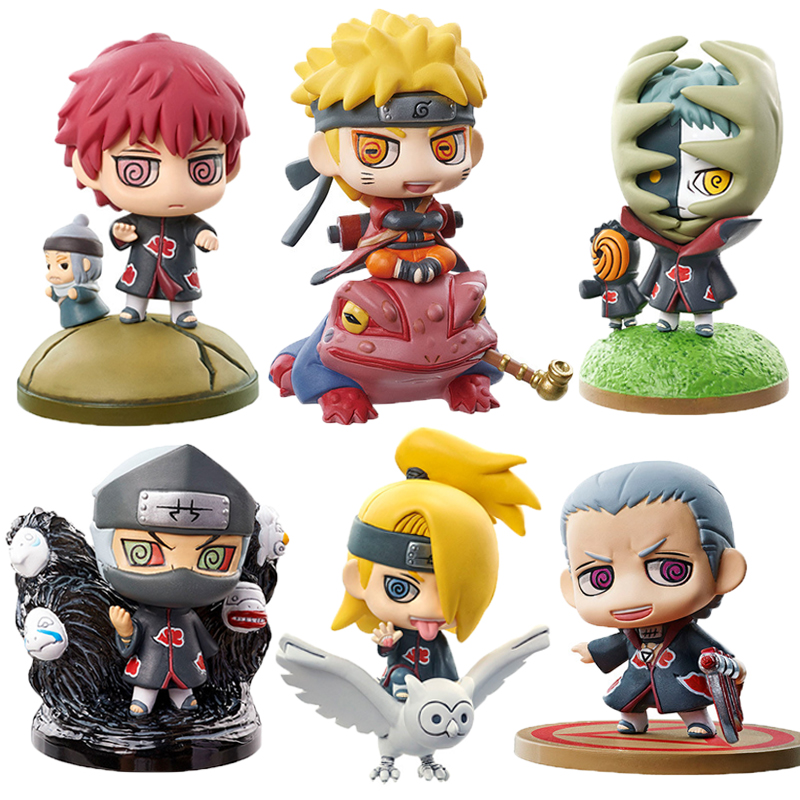 6pcs/set New Naruto Set Hidan Kakuzu Sasori Mounts Gaara Figures Japan Anime Collection Toys Action Figure Toys Gift #E 6pcs set disney toys for kids birthday xmas gift cartoon action figures frozen anime fashion figures juguetes anime models