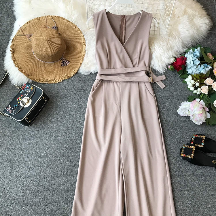 ALPHALMODA 2019 Spring Ladies Sleeveless Solid Jumpsuits V-neck High Waist Sashes Women Casual Wide Leg Rompers 30
