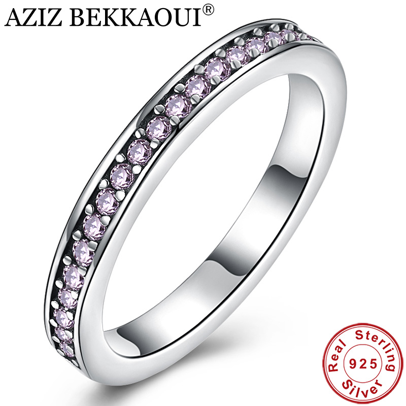 Stackable-Ring Finger-Ring Wedding-Engagement Jewelry 925-Sterling-Silver Purple Women
