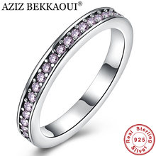 AZIZ BEKKAOUI Genuine 925 Sterling Silver Purple & Clear CZ Finger Ring Stackable Ring for Women Wedding Engagement Jewelry Gift(China)