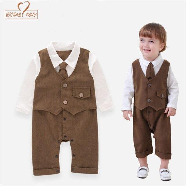NYAN CAT Rompers baby boys full sleeve brown long tie fake vest jumpsuit  infant toddler gentlemen e41db97c10f8