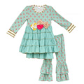 Mustard Pie Girls Outfits New Arrival Baby Mint Floral Pattern Swing Top Ruffle Cotton Pants Clothes Kids Fall Clothing Set F075