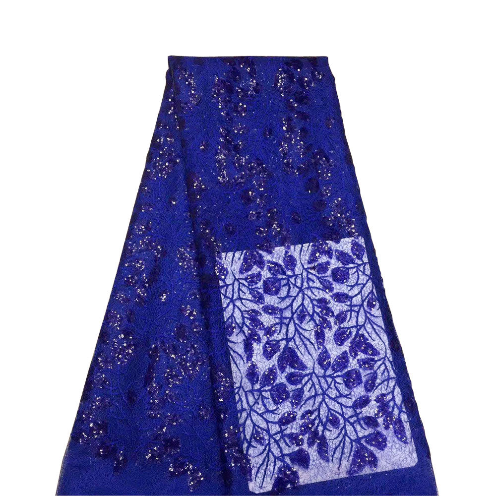 Royal blue new arrivel nigerian sequin lace fabrics 5yards bridal lace fabric 069A for wedding