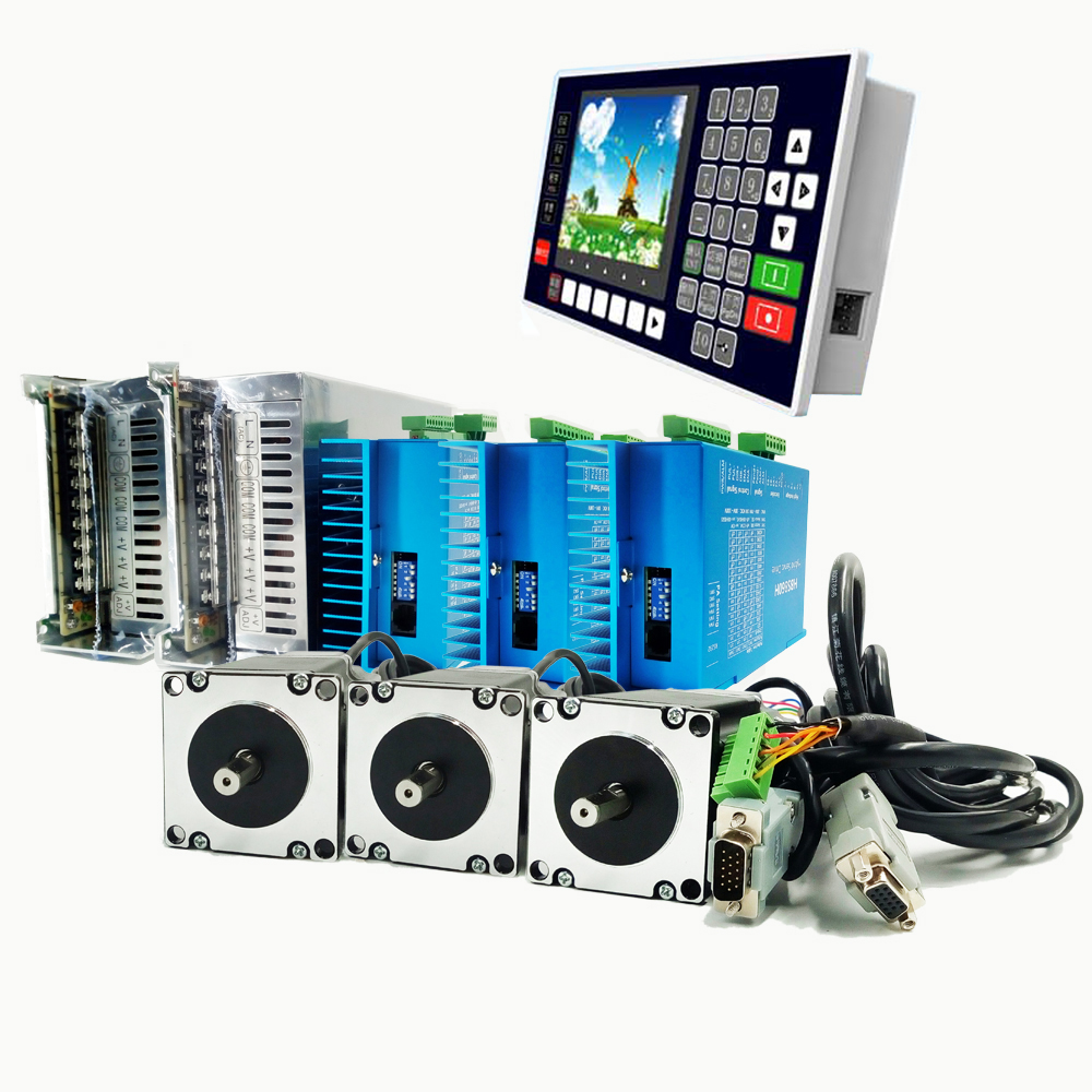 3 Axis NEMA23 Closed Loop Stepper Kit Driver 2Phase 3N.m 425oz.in 36VDC 4A Motor+Controller+Power Supply for CNC Motion Control nema23 2nm 283oz in integrated closed loop stepper motor with driver 36vdc jmc ihss57 36 20