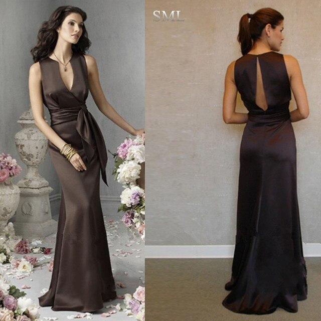 c78bf1211510 SML Wholesale Perfect Chocolate Deep Brown V neck Sash Floor length Satin  Bridesmaid Dress Women