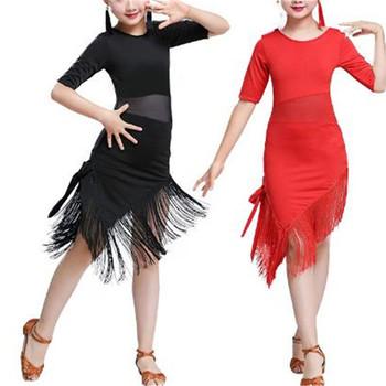 Dla dzieci dziewczyny Latin sukienka do tańca towarzyskiego Rumba Tango sukienka Mesh Splice nieregularne frędzle Hem sukienka do występów konkurencji tanie i dobre opinie Poliester spandex Kids Girls Latin Ballroom Rumba Tango Dancewear Outfit CHINA 1Pc Dance Dress 1Pc Shorts 1 Pair of Earrings 1Pc Hair Clip