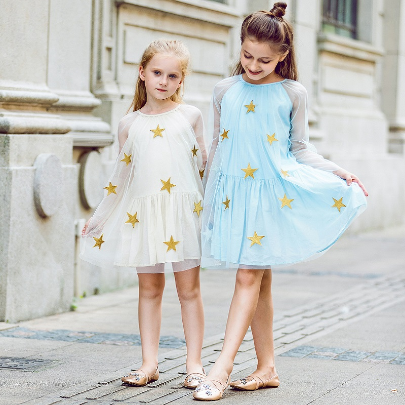 Princess Dress Girl Vestidos Star Embroidery Lace Mesh Robe Fille Enfant Toddler Dresses Children Clothes for Girls Age 12 childrendlor baby brocade floral print toddler girl dress carretto 2017 a line princess dresses kids clothes robe fille enfant