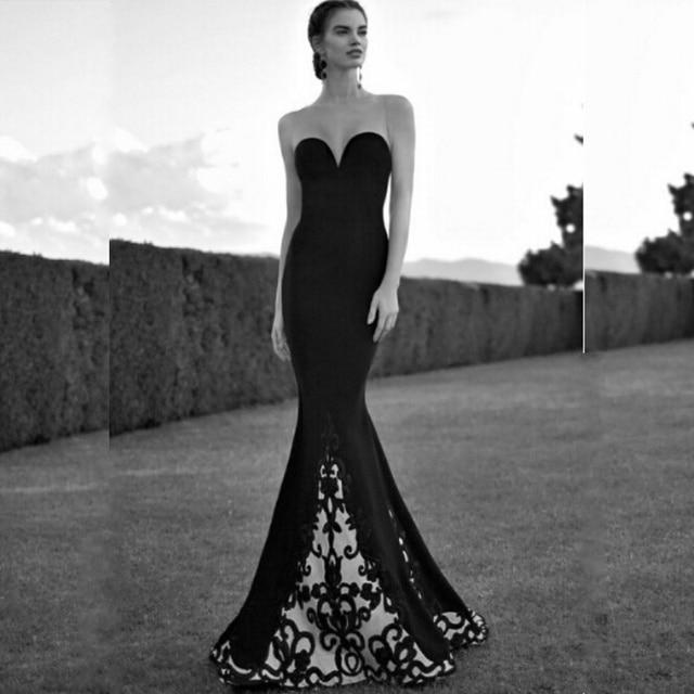 White And Black Tarik Ediz Dresses Embroidery Long Mermaid Evening