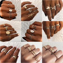 HOMOD 2019 Vintage Bohemian Gold Moon Geometric Joint Ring Set For Women Crystal Personality Design Party Jewelry Gift