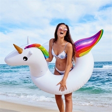 купить 120cm Inflatable Unicorn Swimming Circle Pool Float for Adult Summer Pool Party Beach Lounger Unicorn Inflatable Circle water дешево