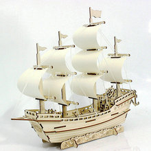 Парусник diy игрушка головоломка 3d маленькая лодка Развивающие детские подарочные игры сборка деревянного здания паром модель деревянные игрушки парусный корабль