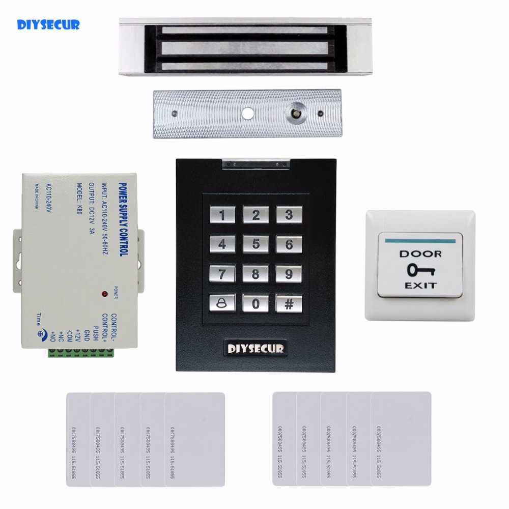 DIYSECUR 180kg Magnetic Lock Door Lock 125KHz RFID Password Keypad Access Control System Security Kit for Home / Office diysecur touch button rfid 125khz metal keypad door access control security system kit magnetic lock for home office use