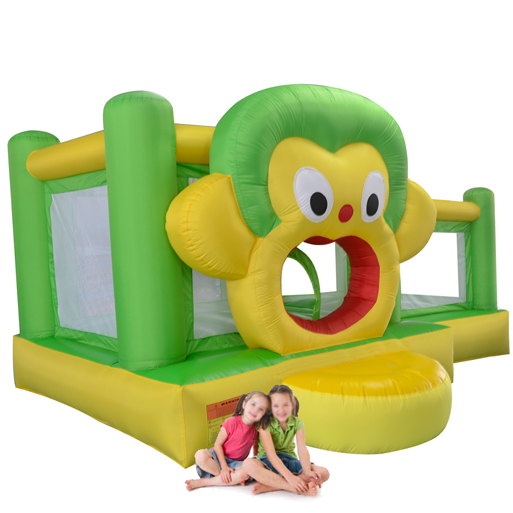 YARD Monkey Bounce House Inflatable Jumper with Slide Include Blower Inflatable Bouncer for Kids navy monkey with smile