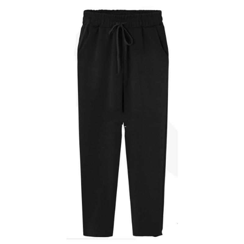 New 2018 Autumn Winter Plus Size 5XL Women Trousers Elastic Waist Cotton Sweatpants Loose Harem Pants Casual Bow Street Capris