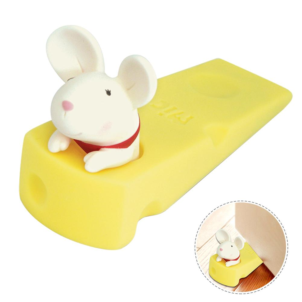 Child Anti-collision Cartoon Door Stop Safety Non-toxic PVC Mouse Shape Door Plug Baby Safety Anti-pinch Protection Accessories