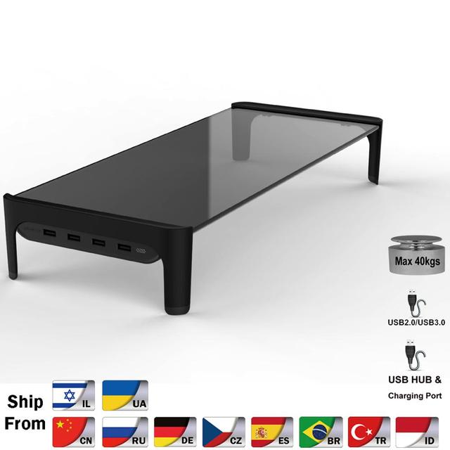 Desktop Monitor Notebook Laptop Stand Space Bar Non slip Desk Riser with 4ports USB Hub Data Transmission and Fast Charger 501L