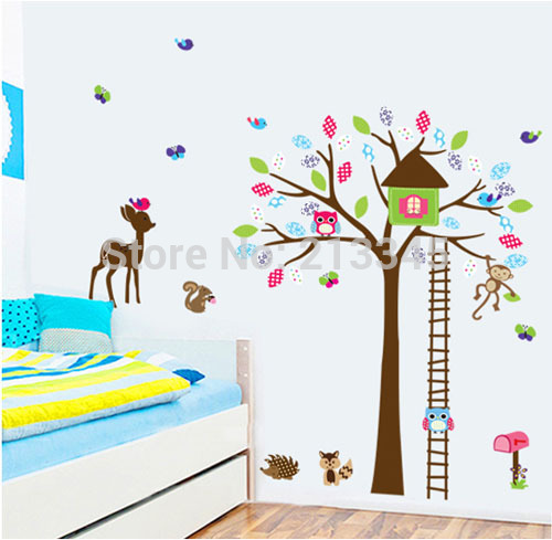 [Fundecor] Diy Wall Stickers Home Decor Cartoon Animal Tree House Decals Owl Deer Wallst ...
