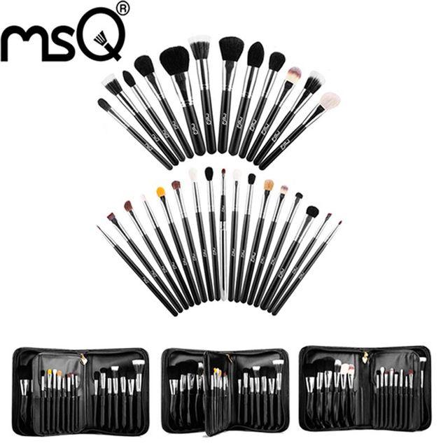 Luxury MSQ Brand 29pcs Professional Cosmetic Brushes Set, Soft High Quality Beauty Makeup Brushes, Black Case Travel Makeup Kit